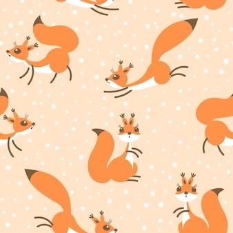 Kleine süße eichhörnchen unter schneefall. nahtloses wintermuster für geschenkverpackung, tapete, kinderzimmer oder kleidung.