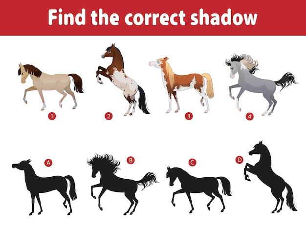 Kleine süße pferde. kinder spielen finden den richtigen schatten. puzzlespiele mit kindern. pferde verschiedener rassen. karikaturillustration.