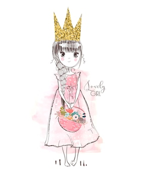Kleine süße rosa prinzessin mit blumen. vektor-illustration