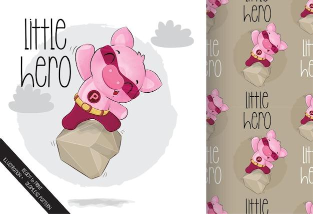 Kleine süße schweinheldenfigur auf dem felsen