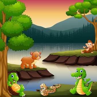 Kleine tiere genießen die natur am see