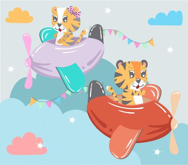 Kleine tiger fliegen flugzeuge