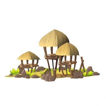Kleine tropische insel mit einfachen hütten, holzhäusern mit strohdächern. insel mit dem dorf der wilden auf einem weißen hintergrund