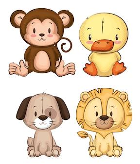 Kleine und süße tiergruppe