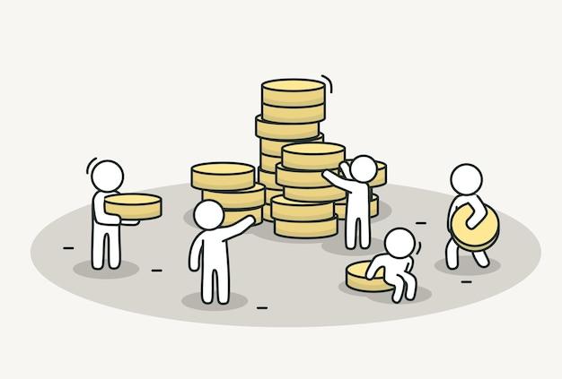 Kleine weiße bringen münzen zum stapeln