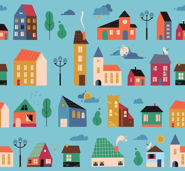 Kleine winzige häuser muster, deckung - straßen mit gebäuden, bäumen und wolken. geometrisches haus der karikatur nahtloses muster. hand gezeichnete trendige illustration.