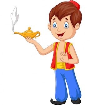 Kleiner aladdin der karikatur, der seine wunderlampe hält