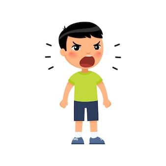 Kleiner asiatischer junge schreit laut und ballt die hände zu fäusten