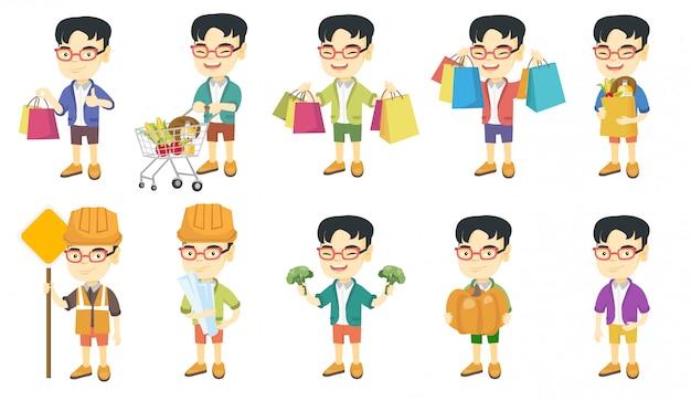 Kleiner asiatischer jungenzeichensatz