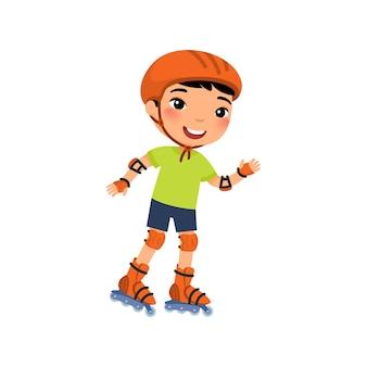 Kleiner asiatischer sportler mit rollschuhlaufen