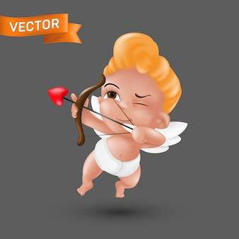 Kleiner baby-amor-engel in einer windel mit einer herzförmigen spitze von pfeil und bogen.
