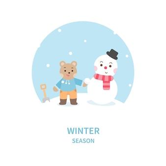 Kleiner bär mit schneemann. nette zeichentrickfigur.