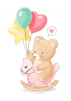 Kleiner bär und luftballons auf holzpferdeillustration