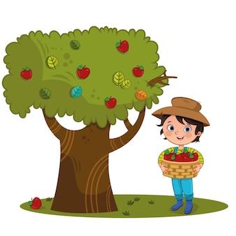 Kleiner bauernjunge auf dem bauernhof mit apfelkorb und apfelbaum vektorillustration