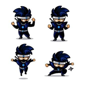 Kleiner blauer ninja-cartoon mit vier verschiedenen aktionen