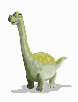 Kleiner brachiosaurus. cartoon dinosaurier bild. netter dinosauriercharakter. wohnung lokalisiert auf weißem hintergrund.