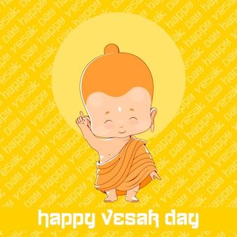 Kleiner buddha am glücklichen vesak-tag. gelbe grußkarte