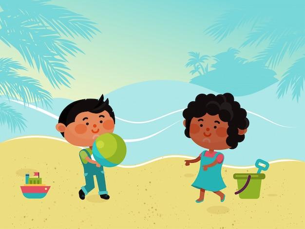 Kleiner charakter kind spielen sandstrand, kinder frau mann tragen ball illustration. weiblicher männlicher kinderspielplatzbereich.