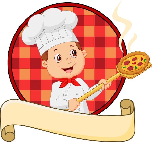 Kleiner chef der karikatur, der werkzeug mit brotbäckereischale hält