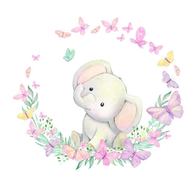 Kleiner elefant, umgeben von schmetterlingen, pflanzen, sitzt. aquarellrahmen. für kindereinladungen. kindertextilien.