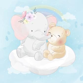 Kleiner elefant und niedlicher bär, der in einer wolke sitzt