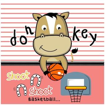 Kleiner esel, der basketball lustige tierkarikatur spielt