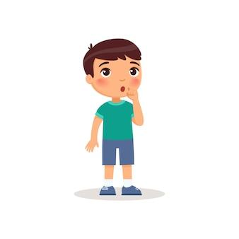 Kleiner junge, der die flache vektorillustration der stille geste zeigt.