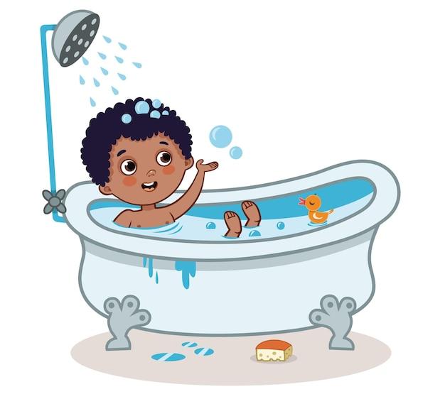 Kleiner junge, der ein bad nimmt vektorillustration