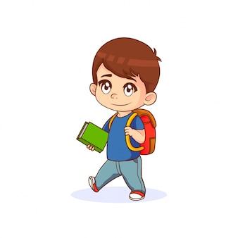 Kleiner junge, der ein buch mit rucksack, karikaturillustration hält