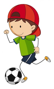 Kleiner junge, der fußball spielt
