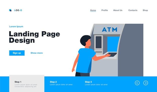 Kleiner junge, der geld vom geldautomaten bekommt. bargeld, maschine, banking-flachabbildung