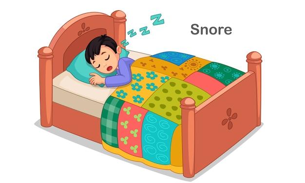 Kleiner junge, der illustration schläft und schnarcht