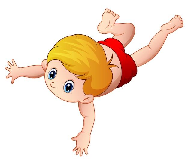 Kleiner junge der karikatur, der auf einem weißen hintergrund schwimmt