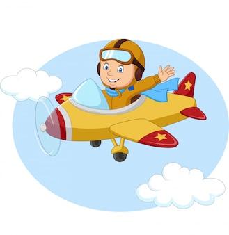 Kleiner junge der karikatur, der ein flugzeug betreibt