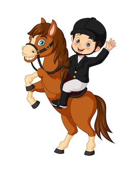 Kleiner junge der karikatur, der ein pferd reitet