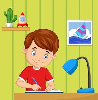 Kleiner junge der karikatur, der im raum studiert