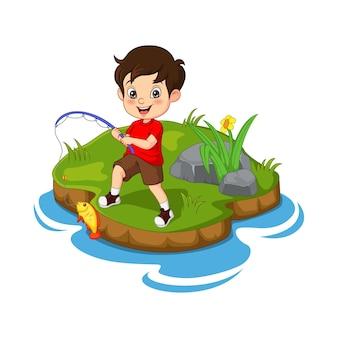 Kleiner junge der karikatur, der in einem fluss fischt