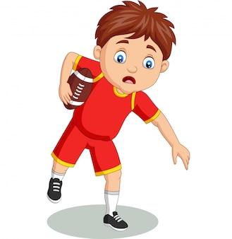 Kleiner junge der karikatur, der rugby spielt