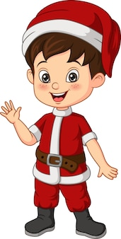 Kleiner junge der karikatur, der weihnachtssankt-kostüm trägt