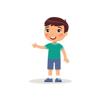 Kleiner junge, der mit der flachen vektorillustration des zeigefingers zeigt.