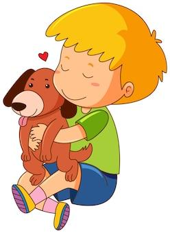 Kleiner Junge, der Schoßhund küsst