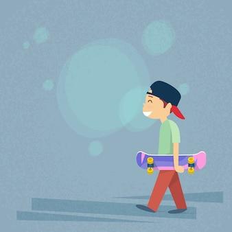 Kleiner junge, der skateboard flach hält