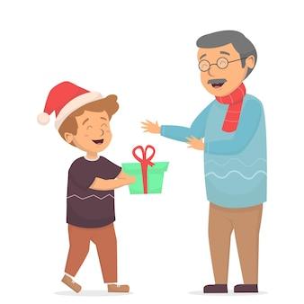 Kleiner junge geben weihnachtsgeschenkbox zur großvaterillustration