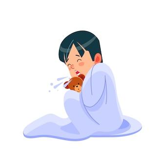 Kleiner junge hat grippe, kind niest in ein taschentuch. kranker kinderjunge, der mit spielzeugbär im bett sitzt und sich die nase putzt, fühlt sich so schlecht mit fieber. karikaturillustration isolierter hintergrund.
