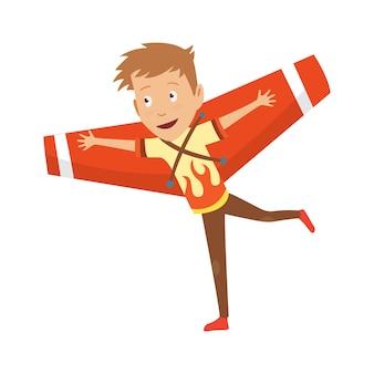 Kleiner junge im pilotenkostüm träumt davon, das flugzeug zu steuern und spielt mit spielzeugen entzückende zeichentrickfiguren.