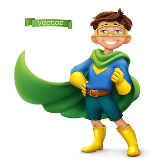 Kleiner junge im superheldenkostüm mit grünen mänteln. comicfigur, illustration