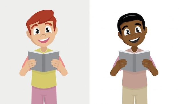 Kleiner junge liest ein solches buch.