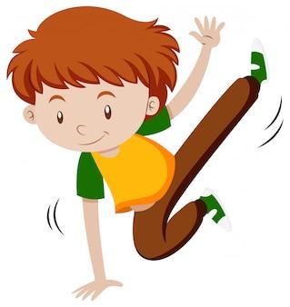 Kleiner junge macht breakdance