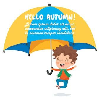 Kleiner junge mit einem großen regenschirm