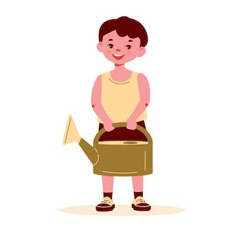 Kleiner junge mit einer gießkanne vektor-illustration im flachen cartoon-stil